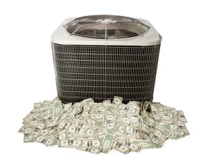 air conditioning unit on pile of cash