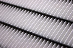Close-up of the elements of a clean air filter; dynamic shot using diagonal lines.