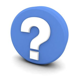white question mark in blue circle on white background